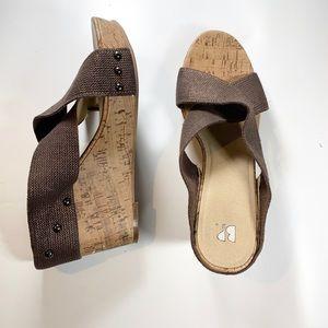 bp   Cork Wedge Taupe Sandal Slip On Platform